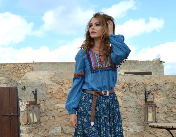 blusa fioroni azul boho chic ibiza