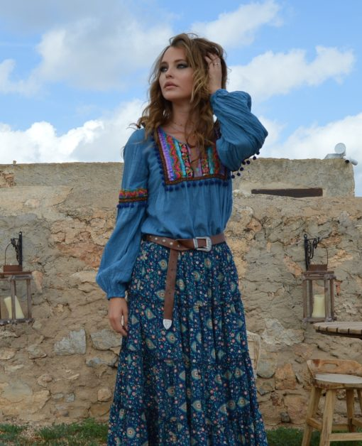 blusa pompones azul fioroni collection fall ibiza trendy