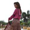 blusa pompones burdeos ibiza trendy