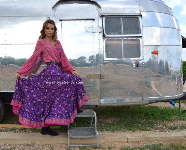 falda lila larga free love ibiza trendy