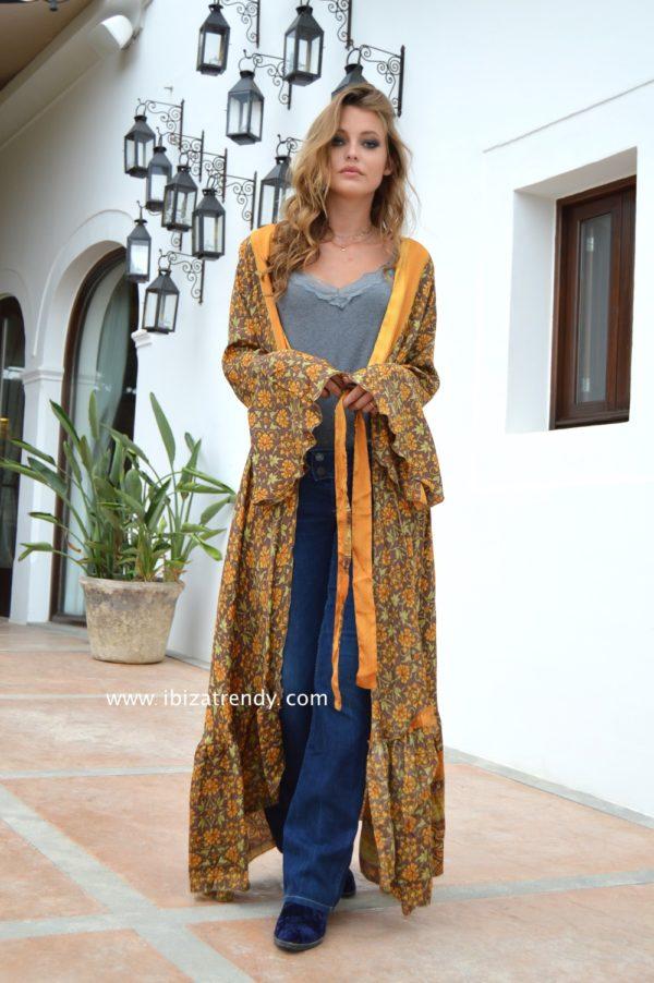 kimono boho flores amarillas ibiza trendy free love