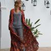 kimono red boho chic ibiza trendy free love