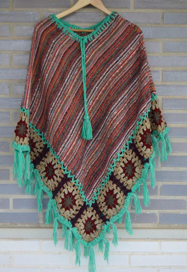 poncho lana ibiza flecos turquesa 231