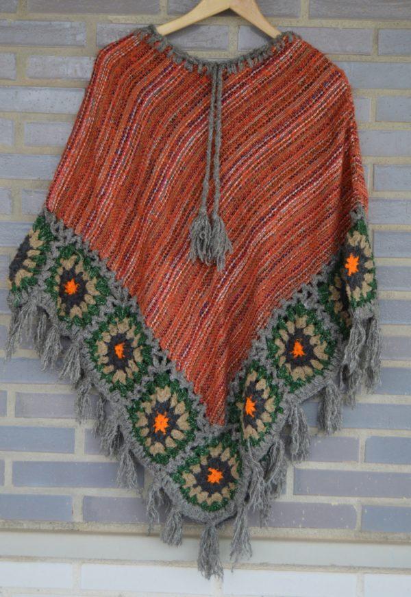 poncho lana naranja ibiza trendy 188