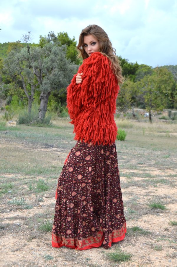 shaggy jacket in red ibiza trendy