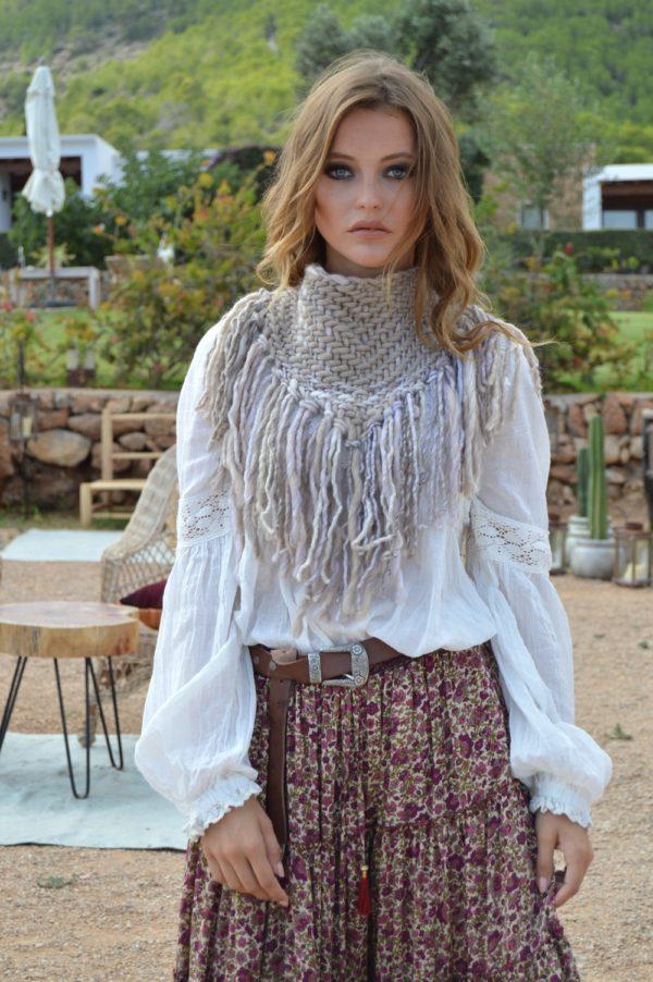 cuello blanco roto y beige lana ibiza trendy