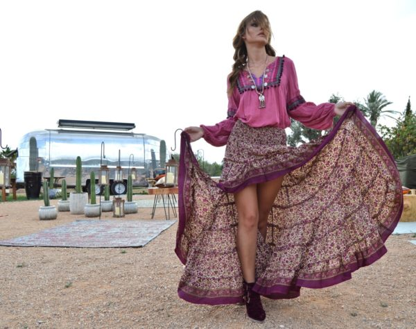plum boho skirt free love ibiza trendy