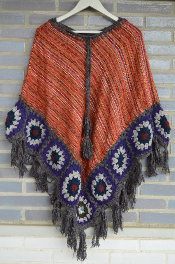 poncho woolen ibiza trendy orange 304