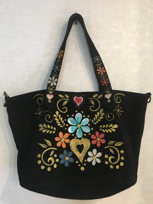 handpainted shopping bag in leather Lola Ibiza Trendy