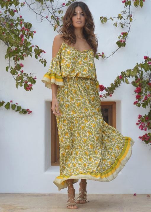 vestido boho sarah k mostaza ibiza trnedy