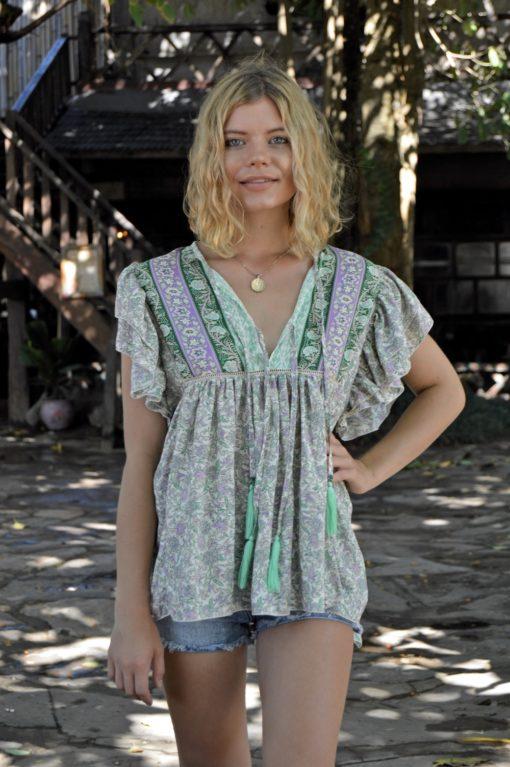 blusa volanrtes verdes borlas ibiza trendy 2