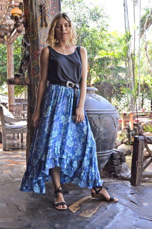 falda volantes azul asimetrica boho ibiza trendy Julia