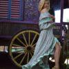 gypsy ruffles green skirt ibiza trendy