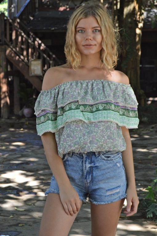 off the shoulder ibiza blouse in green 2