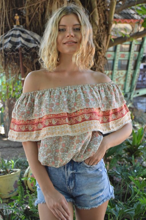 off the shoulders blouse in salmon orange ibiza trendy boho 2