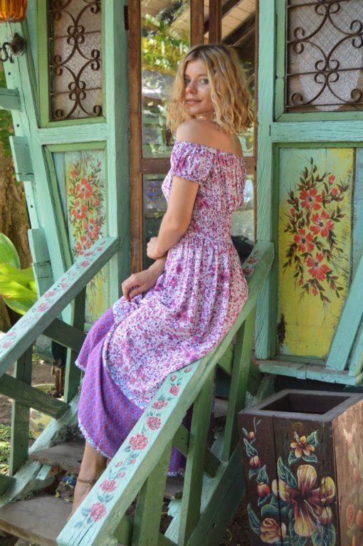 vestido romantico lavanda flores lila boho chic