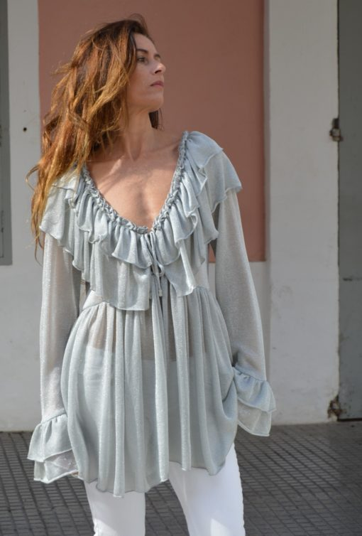 blusa volantes lurex ibiza trendy boho chic