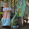 buttefly boho dress turquoise and pink ibiza trendy