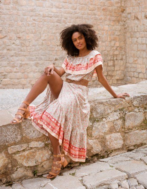 button up skirt ibiza trendy in blush