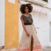 button up skirt in orange ibiza trendy