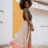 falda abotonada volantes bohemia ibiza trendy naranja