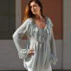 lurex silver blouse frill ibiza trendy
