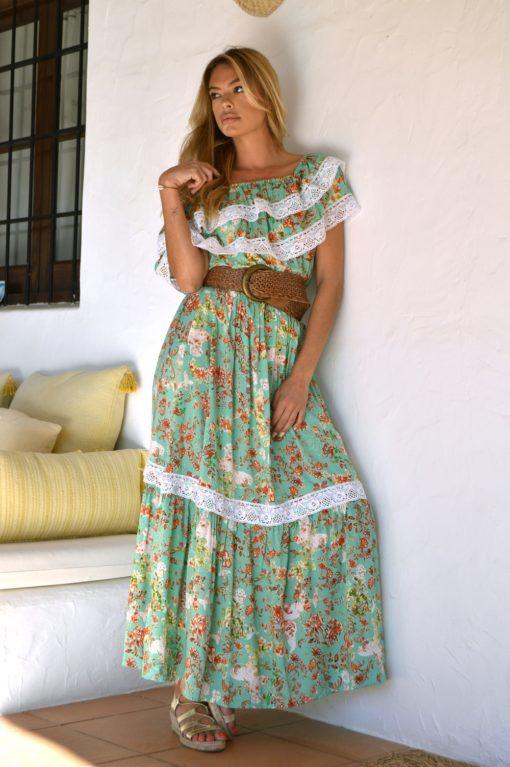 vestido romantico ibicenco color verde puntillas Butterfly ibiza trendy