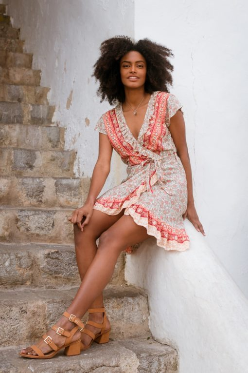 wrap dress boho chic in blush ibiza trendy
