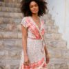wrap dress in blush ibiza trendy boho chic