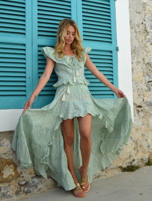asymmetrical green skirt ibiza trendy fioroni collection