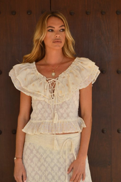 boho chic ibiza ruffles top fioroni collection ibiza trendy cream