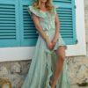 falda asimetrica verde boho chic ibiza trendy fioroni collection