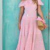 maxi dress pink boho chic ruffles ibizatrendy