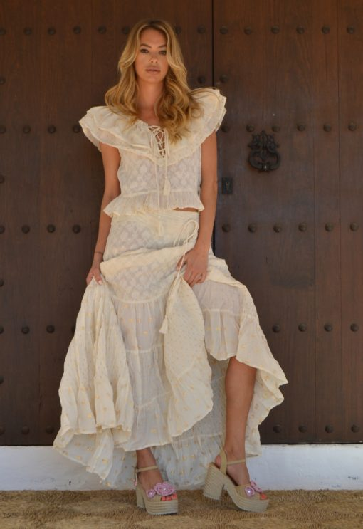maxi falda Fioroni collection algodon boho chic en crudo