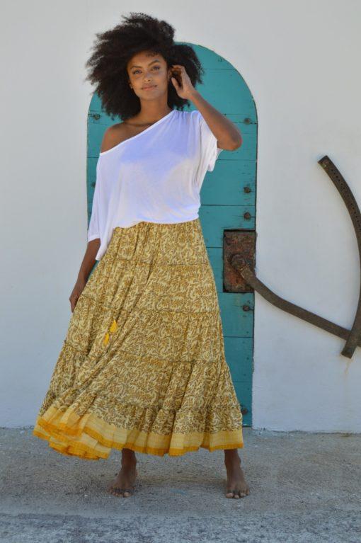 maxi falda free love amarilla ibiza trendy