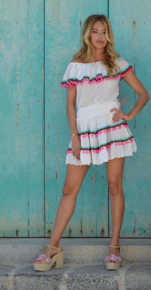 mini falda y top pompone Fioroni collection Ibiza trendy