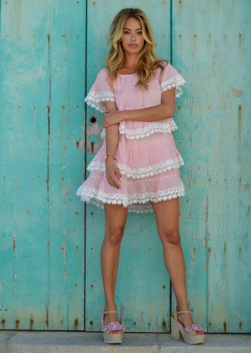 mini vestido flores fioroni collection rosa ibiza trendy
