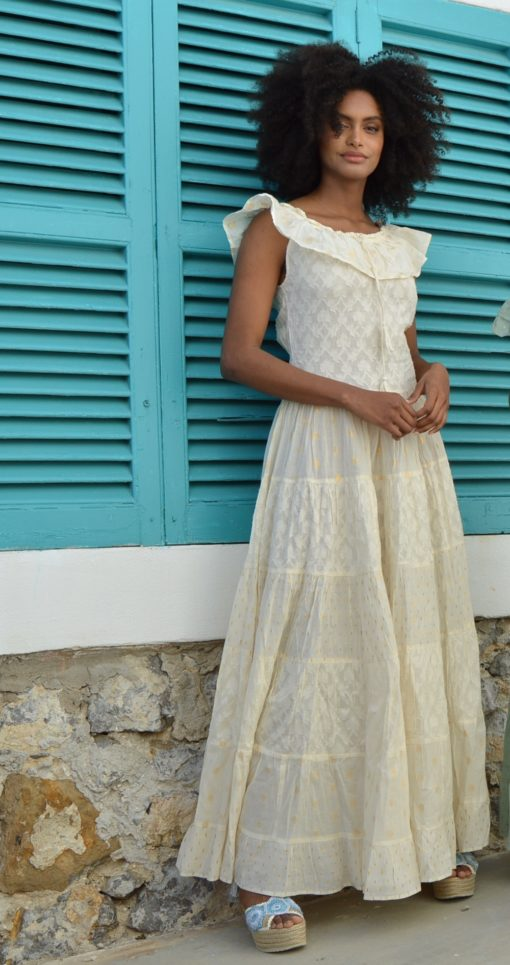 raw cotton boho chic dress fioroni ibiza trendy