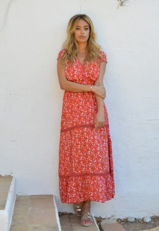 vestido flores rojas Lucy Ibiza Trendy