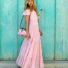 vestido largo volantes color rosa y dorado ibiza trendy fioroni