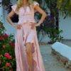 asymmetrical skirt in pink ibiza trendy style