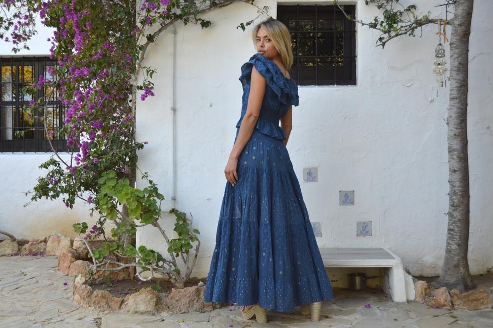 5ba9a162bd Fioroni asymmetrical skirt in night blue – Ibiza Trendy   Tienda ...