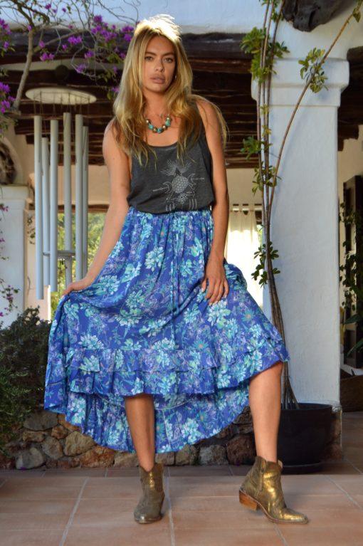 falda julia azul boho print ibiza trendy