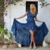look de invitada boda boho chic ibiza fioroni collection asymmetrical skirt