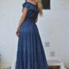 maxi vestido azul oscuro hilos dorados fioroni ibiza trendy