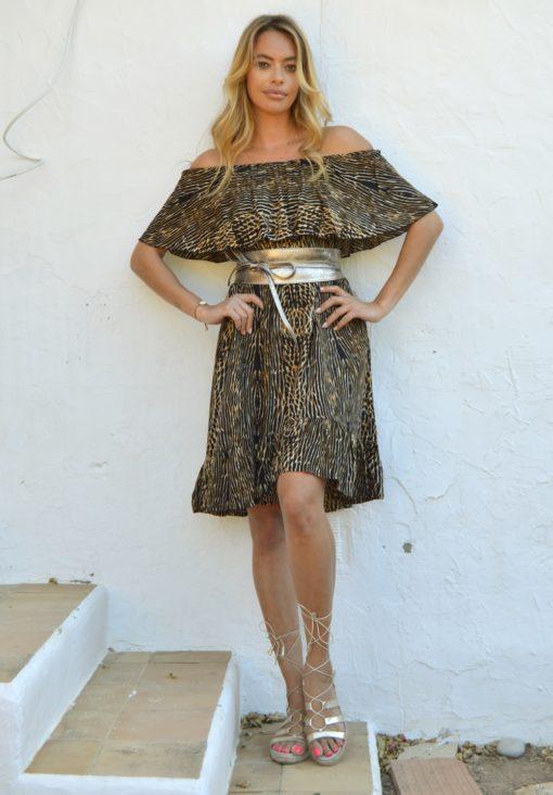 ria dress boho chic in animal print ibiza trendy