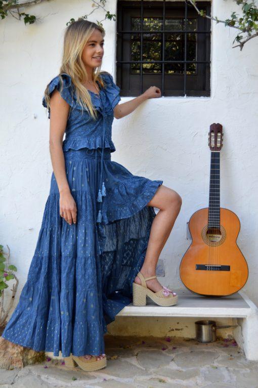 top y falda asimetrica azul noche fioroni ibiza