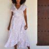 tusi dress white polka dot boho chic ibiza trendy