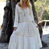 vestido abotonado puntillas fioroni collection ibiza trendy crudo
