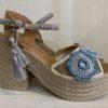 sandalias esparto tacon crochet azules lola guarch
